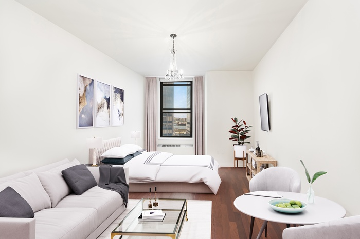 Bright studio with East River views in boutique FiDi condo! 24 hr DM & Huge Roof Terrace!